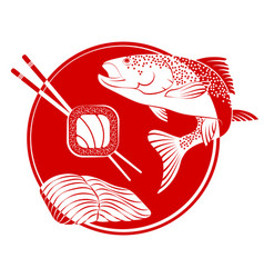 sushi fish vector image vector image