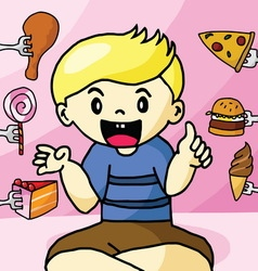 The boy like fast food vector image vector image