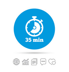 timer sign icon 35 minutes stopwatch symbol vector image vector image