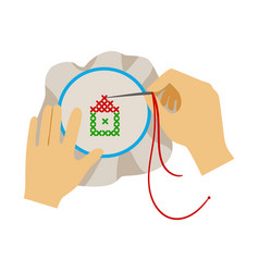 To hands doing cross-stitching needlework vector