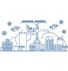 Usa arizona phoenix winter city skyline merry vector
