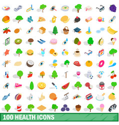 100 health icons set isometric 3d style vector