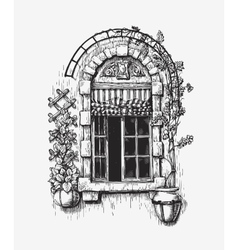 Open window sketch vintage vector