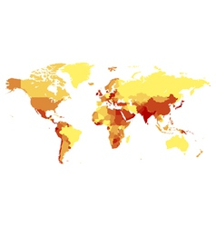 World map with countries in warm colors vector