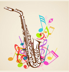 Music notes and saxophone vector