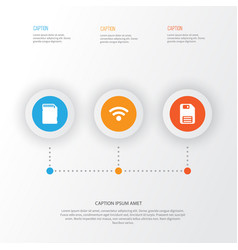 Hardware icons set collection of wireless memory vector