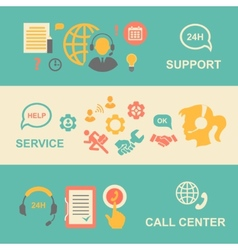 Call center banners set with support and service vector