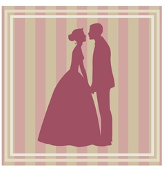 Silhouette of wedding couple vector