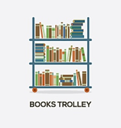 Flat design books trolley vector