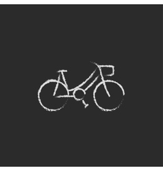 Bicycle icon drawn in chalk vector