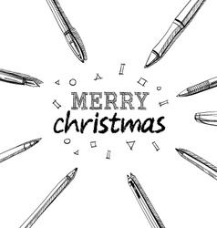 Merry christmas frame pens vector