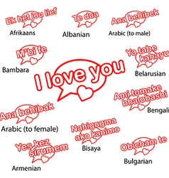 Word i love you in different languages vector