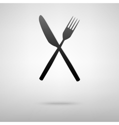 Fork and knife black icon vector