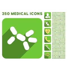 Yeast icon and medical longshadow icon set vector