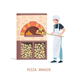 Cooking pizza vector