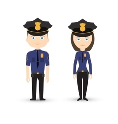 Police officer male and female vector