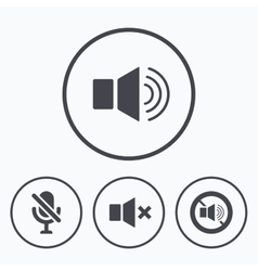 Player control icons sound microphone and mute vector
