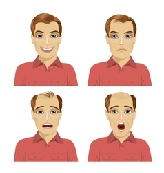 Young man with different stages of hair loss vector
