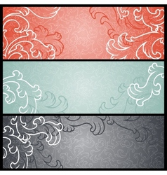Banners with floral pattern in retro style vector image vector image