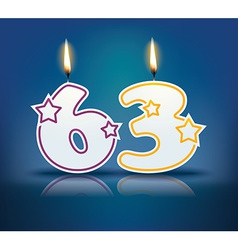 Birthday candle number 63 vector