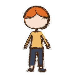 Blurred colorful faceless caricature blonded boy vector