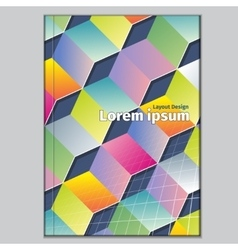 Book cover with abstract cubes geometric elements vector