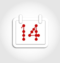 Calendar icon for valentines day on 14th february vector