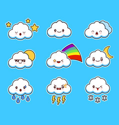 cartoon cute cloud kawaii character with different vector image vector image