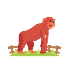 Chimpansee Ape On All Fours Standing On Green vector image vector image