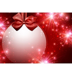 Christmas red background with bow vector