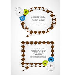 Clothing buttons and balloon text vector