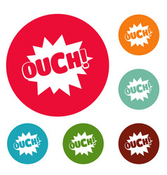 Comic boom ouch icons circle set vector