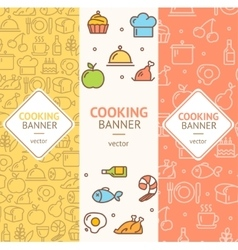 Cooking banner flyer vertical set vector