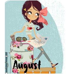 cute cartoon summer girl vector image vector image