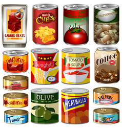 Different kinds of food in can vector