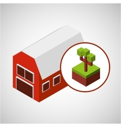 farm countryside isometric design vector image vector image