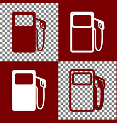 Gas pump sign bordo and white icons and vector