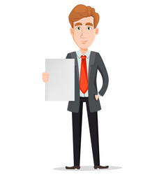 Handsome businessman in suit holding blank placard vector