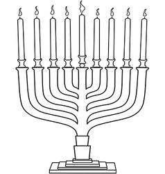Hanukkah Lamp Hanukkiah Coloring Page vector image vector image