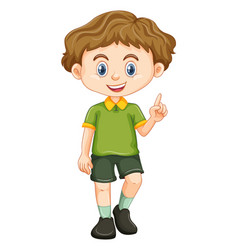 Little boy in green shirt vector