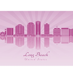 Long beach v2 skyline in purple radiant orchid vector