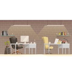 Modern Office Desk Lighting Cartoon Poster vector image