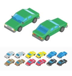 Multicolored isometric car set vector image vector image