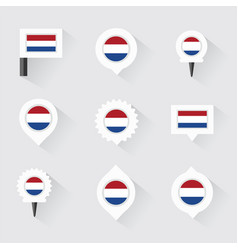 Netherlands flag and pins for infographic and map vector