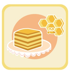 Piece of honey cake and bee on honeycomb vector