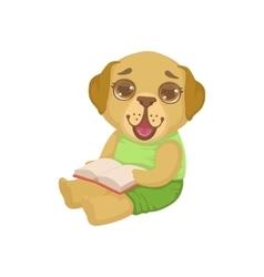 Puppy reading a book vector