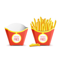 realistic french fries potatoes tasty fast vector image vector image
