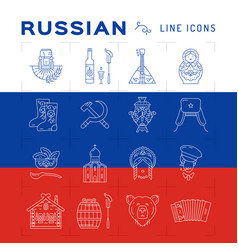 Russian line icons russian traditional symbols - vector