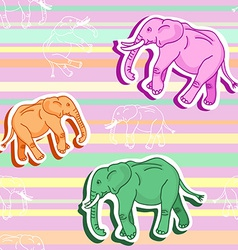 Seamless elephant pattern on pink stripped vector