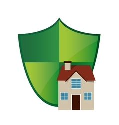 Shield and house icon vector